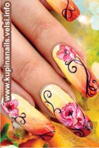 Чтобы создать объем и много ярусность цветка, следует использовать богатую палитру (в рисунке на ногте) из розовых и красных оттенков.