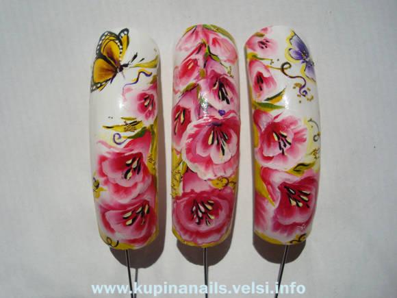 Цветочный дизайн на ногтях. Как рисовать на ногтях гибискус.