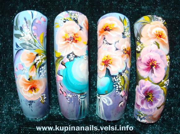 Рисунок цветов на ногтях. Как рисовать на ногтях гибискус.
