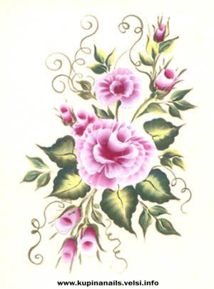 Нарисовать букет китайской розы как на фото. Как рисовать на ногтях.