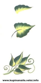 Китайский маникюр. Пошагово рисуем листья  китайской розы. Как рисовать на ногтях.