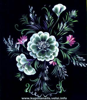 Маникюр, привлекательный цветок на ногтях по китайской технологии росписи нагтей.
