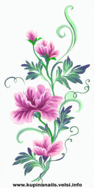 Пион - маникюр, китайская роспись ногтей.