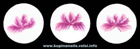Маникюр, пошаговое нанесение цветка пиона на ногти по китайской технологии росписи ногтей.
