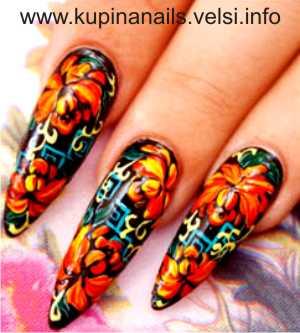 Дизайн ногтей - цветущие пионы.  Шаг 7. Готовый дизайн покрываем закрепителем. Фото 7.