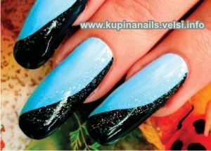 Как рисовать на ногтях разноцветную космею, фото пошаговых действий. Свободный край ногтя                                    закрываем черной краской