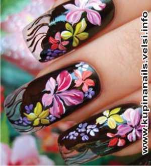 Как рисовать на ногтях цыганские мотивы для нарощенных ногтей, дизайн ногтей, фото пошагового выполнения. 5. Нежные сиреневые цветочки украсят и дополнят композицию на платке.
