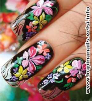 Как рисовать на ногтях цыганские мотивы для нарощенных ногтей, дизайн ногтей, фото пошагового выполнения. 7. Покрываем ногти прозрачным закрепителем.
