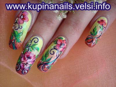 О том. как рисовать такой рисунок на нарощенных ногтях. Виктория
