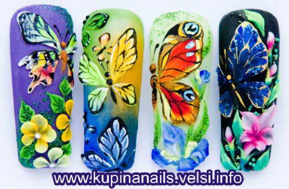 дизайн ногтей бабочки фото: