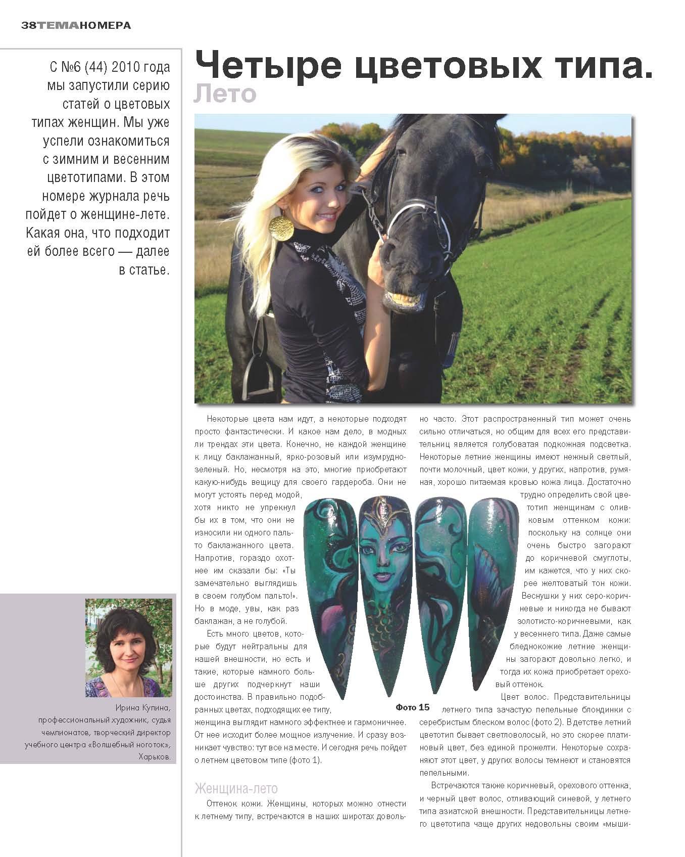 Серия из четырёх публикаций  Четыре цветовых типа женщины в журнале Nail ПРАКТИКА - ЛЕТО