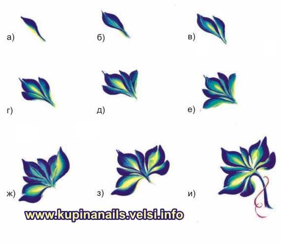 Кленовый лист «по-китайски» - для дизайна нарощенных ногтей. Учимся рисовать элементы.